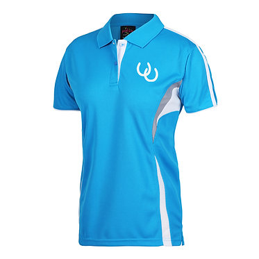 Ladies horse cool polo shirt aqua white country girl image front view