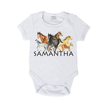 Personalised baby romper play suit white with group of horses image front view