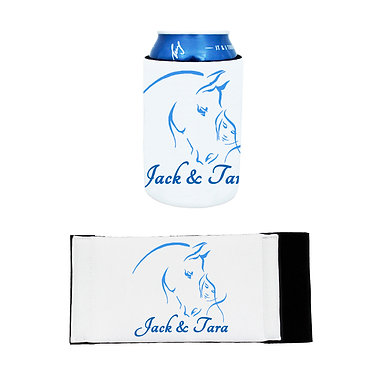 Neoprene stubby cooler girl and horse together blue image front and flat view