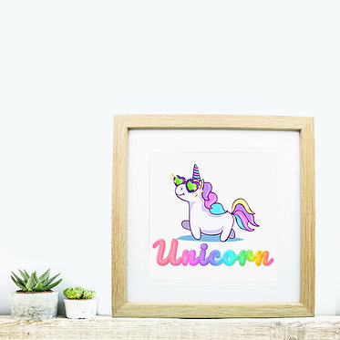 Square wood picture frame unicorn cartoon image front view