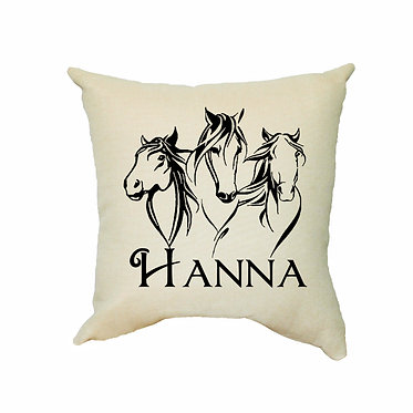Personalised tan cushion with zip three horses image front view
