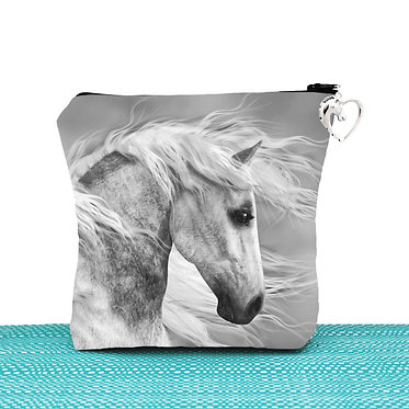 White cosmetic toiletry bag with zipper beautiful white horse image front view