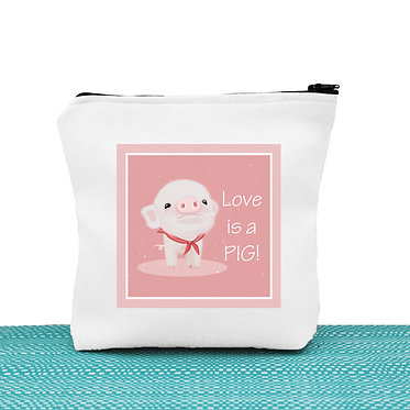 White cosmetic toiletry bag with zip cute pig image with i love pigs! text front view