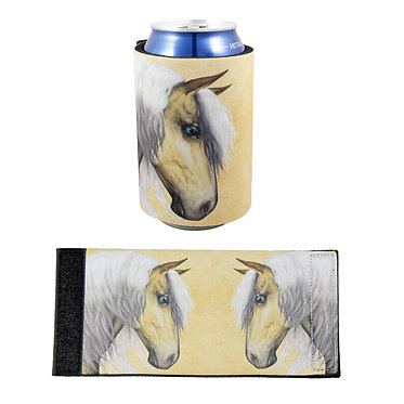 Neoprene stubby cooler with palomino horse image front and flat view