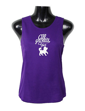 "Purple with white image dog singlet top with quote ""all you need is dog"" front view"