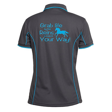 Ladies horse pipping polo shirt charcoal aqua grab life by the reins horse image back view