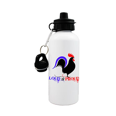 Sports water bottle with rooster image and loud n proud text front view lid on