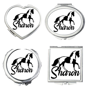 Set of four compact mirrors personalized with text paint horse black and white image front view