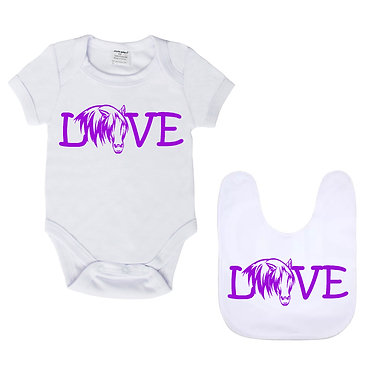 Baby romper play suit and matching bib gift set in white with purple horse love image front view