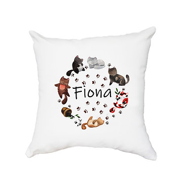 Personalized white cushion cover with zip 40cm x 40cm with name and circle of cute cats image front view