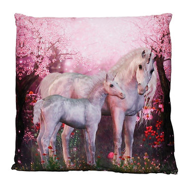 WHITE UNICORN & FOAL IN PINK FOREST CUSHION COVER