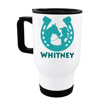 Personalised travel mug stainless steel with horse and girl green image front view