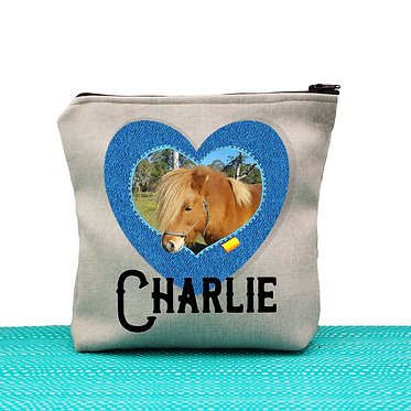 Tan cosmetic toiletry bag with zipper horse personalized with photo heart shape frame in denim front view
