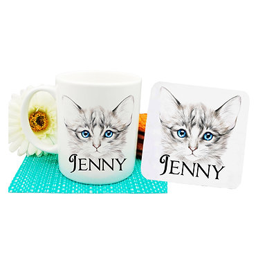 Ceramic coffee mug and drink coaster set personalized kitten with blue eyes image front view