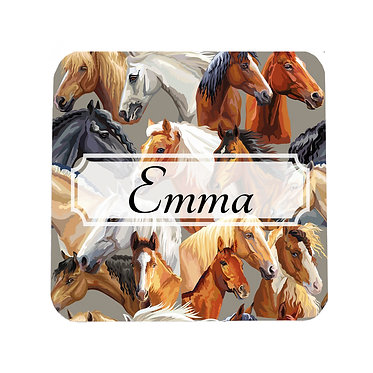 Personalised neoprene drink coaster sets personalised with horse pattern image front view