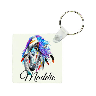 Personalised square MDF wood key-ring spirit horse image front view