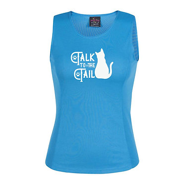 Ladies singlet top aqua with cat talk to the tail image front view