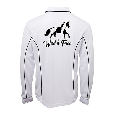 Adults long sleeve polo shirt white navy wild n free paint horse image back view