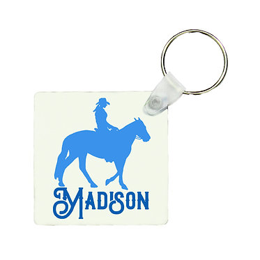 Square MDF wood key-ring western horse rider blue image front view
