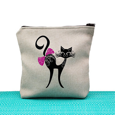 Cat theme cosmetic toiletry bag tan cat with bow image front view