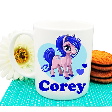 Personalised ceramic coffee mug cute pony and hearts blue image front view