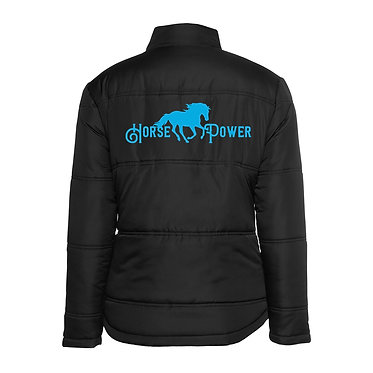 Ladies horse theme adventure puffer jacket black with aqua image back view