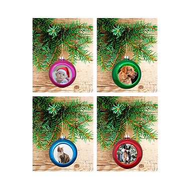 Personalised christmas ball bauble hanging four colours front view