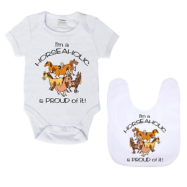 Baby romper suit and matching bib gift set white I'm a horseaholic image front view