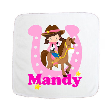 Personalised microfiber face washer cowgirl hot pink image front view