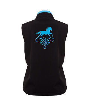 Ladies horse theme soft shell vest black with aqua accents and aqua horse image back view