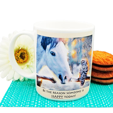 """Ceramic coffee mug with horse and quote """"be the reason"""" image front view"""