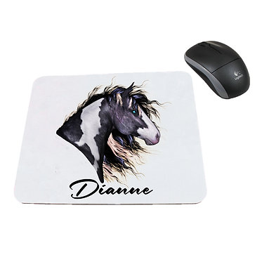 Neoprene computer mouse pad personalised black and white paint horse image front view