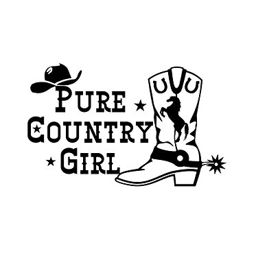 Pure country girl decal sticker front view