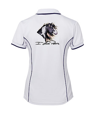 White with dark navy piping I love paints horse image ladies polo shirt back view