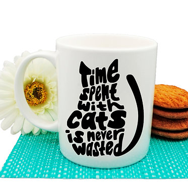 "Ceramic coffee mug black and white cat ""Time spent with cats is never wasted"" image front view"