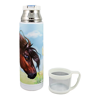 Thermos flask drink travel bottle 500ml stainless steel with cup off beautiful horse image front view