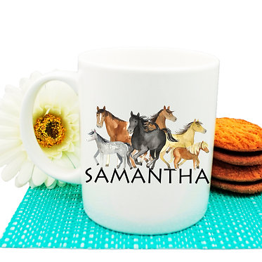 Personalised ceramic coffee mug group of horses image front view