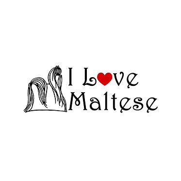 I love maltese black vynil decal sticker front view