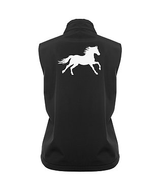 Ladies softshell vest black with white cantering horse image back view