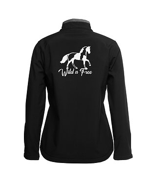 Ladies soft shell jacket black with charcoal trim paint horse image wild n free back view