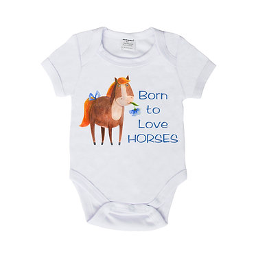 Baby romper play suit white with born to love horses image front view