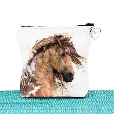 White cosmetic toiletry bag with zipper wild paint horse image front view