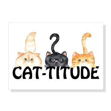 Rectangle A4 art print on card stock three cats with cat-titude image front view