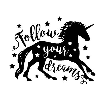 Unicorn vinyl decal sticker with quote follow your dreams in black front view