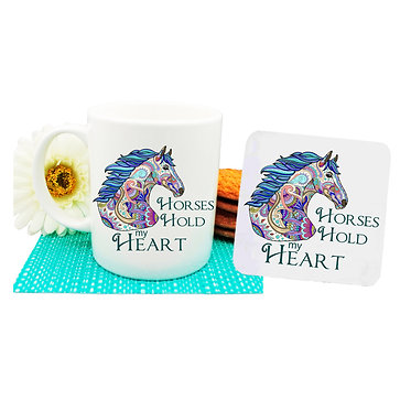 """Ceramic coffee mug and drink coaster set with horse and quote """"Horses hold my heart"""" image front view"""