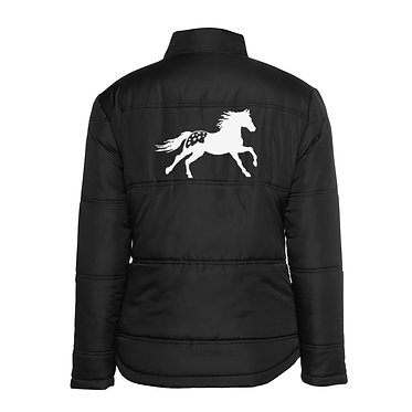 Ladies horse theme puffer jacket black with white Appaloosa horse image back view