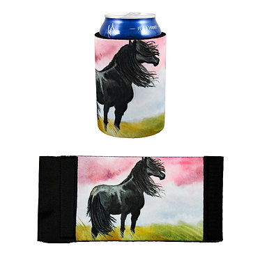 Neoprene stubby cooler with black horse image front and flat view