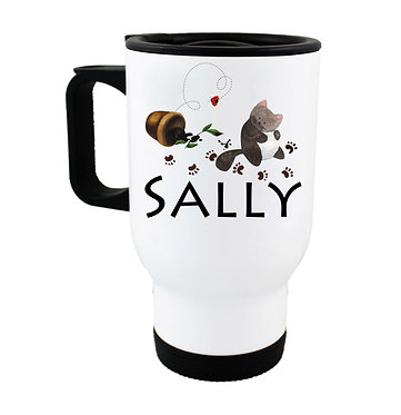 Travel mug with personalized naughty cat and name image front view