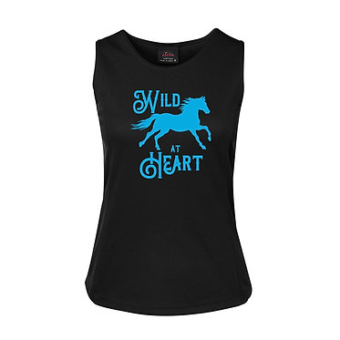 Ladies singlet top black with aqua horse wild at heart image front view