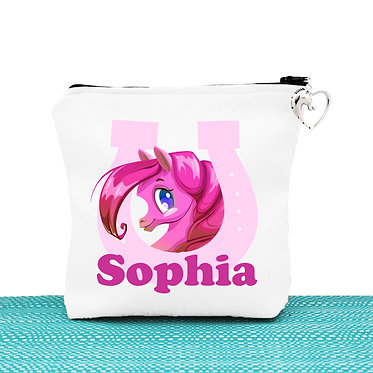 White cosmetic toiletry bag with zipper personalised cute pony in horseshoe hot pink image front view